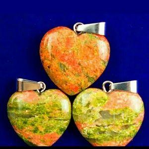 unakite heart fertility stone w bonus charm